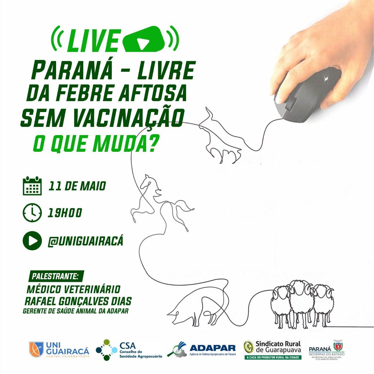 Em palestra online, UniGuairacá leva informações sobre a febre aftosa